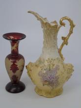 19th C Art Glass Galle Style Vase & Austrian Ewer