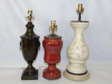 Three Contemporary Designer Table Lamps