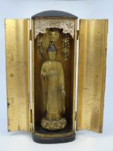 Antique 19th C Japanese Altar Statue in Case