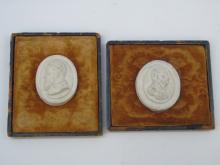 Antique Grand Tour Cast Medallions Velvet Plaques