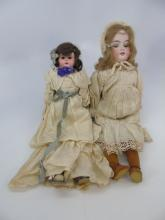 Two Antique German Bisque Head Dolls