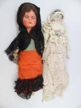 Two Antique Dolls - China Head & Composition