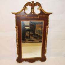 Georgian Mahogany Mirror w/Gilt Eagle and Trim
