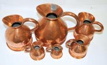 Set of 6 18th Century Copper Serving Ewers