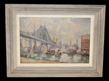New York Harbor Scene-Attrib Augusto Schiavani-O/C