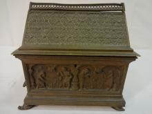 Ornate 19th Century Gothic Revival Bronze Casket