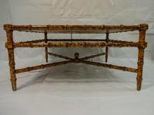 Vintage Sponge-Pattern Bamboo Coffee Table