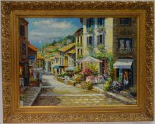 Large Oil on Board Portrayal/Italian Seaside Town