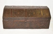 17th Century Spanish Domed Leather Trunk