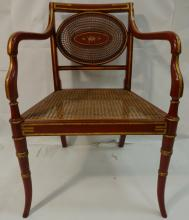 Antique Wicker Armchair w/Painted Floral Medallion