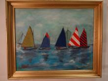 Vintage Seascape w/Sailboats- Signed Oil on Canvas