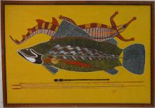 Signed 1997 Aborigine Painting of Fish- Oil/Canvas