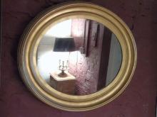 Large Antique Carved Oval Gilt Wood Mirror
