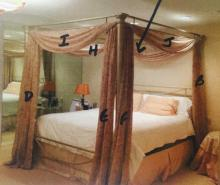 Contemporary King Size Canopy Bed Frame & Drapery