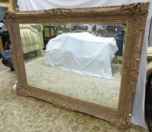 Monumental Gold Tone Baroque Style Wall Mirror