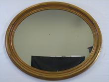 Vintage Gold Tone Oval Carved Wood Frame Mirror