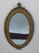 Antique Oval Carved Wood Frame Mirror