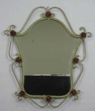 Vintage Wrought Iron Rose & Vine Motif Mirror