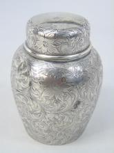 Antique Sterling Silver Chased Jar Form Tea Caddy