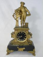 Antique French Late 19th C Ormolu Mantle Clock