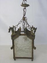 Antique Metal & Glass Dragon Motif Lantern Light