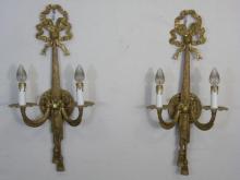 Pair Gilt Metal Vintage 2 Arm Sconces Ribbon Deco