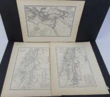 3 Antique 19th C Maps of Palestine & Hebrew World