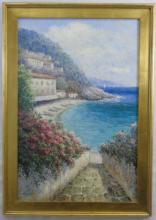Robin Scott - Framed Harbor Scene Painting