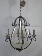Contemporary Two Tone Metal & Glass Chandelier
