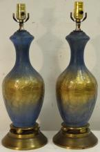 Pair of Mid-Century Art Glass Table Lamps