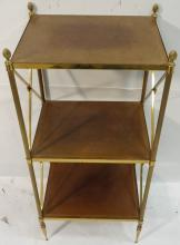Jansen Three-Tier Brass End Table w/Leather Top