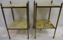 Pair of Vintage Brass and Marble Pedestal Tables