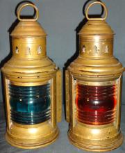 Pair/Nautical Brass Lanterns with Blue+Red Shades