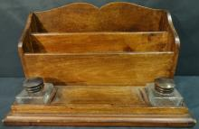 Victorian Mahogany Desk Set with 2 Inkwells