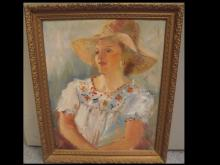 H. Shnauffer-Portrait of Lady with Hat-Oil/Canvas