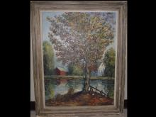Waterscape with Tree & Bridge- Signed Oil/Canvas