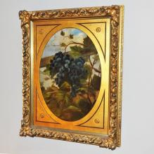 1897 Still Life w/Grapes- Ornate Oval Frame- O/C