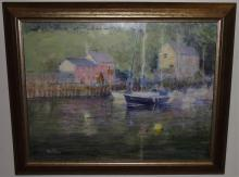 Vince Peterson- Oil on Canvas- Harbor Scene