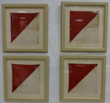 Lot of 4 Vintage Framed Semaphore Flags