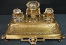 Art Nouveau Brass Desk Tray w/3 Crystal Inkwells