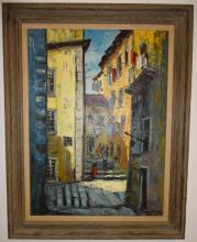 Street Scene- Signed Impressionist Oil on Canvas