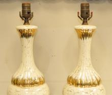 Pair of Mid-Century Gilt Glazed Ceramic Lamps
