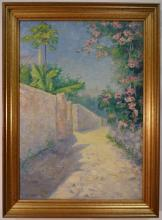 Driveway w/Flower Trees- Belle Hawgood- Oil/Canvas