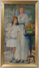 Antique Framed Portrait of Mother+Child-Oil/Canvas