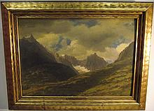 Landscape w/Mountains- Albert Bierstadt- Oil/Panel