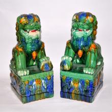 Pair/Chinese Porcelain Foo Dogs/Polychrome Glaze