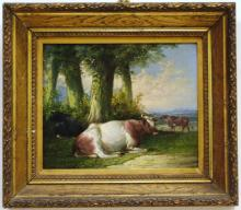 Antique Landscape with Bulls- Oil on Canvas
