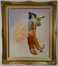 Portrait of Clown w/Trumpet- M. Herman- Oil/Canvas
