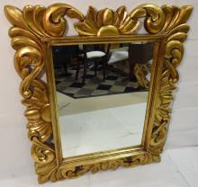 Ornate Art Nouveau Gilt Wood Wall Mirror