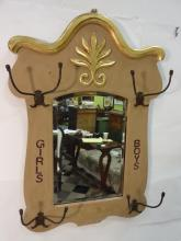 Vintage Gilt Boys & Girls Hat Rack with Mirror